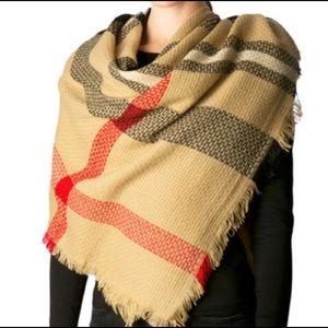 Soft Plaid Blanket Beige Tan Square scarf NWT